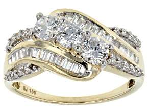 Cubic Zirconia 10k Yellow Gold Ring 2.57ctw (1.40ctw DEW)