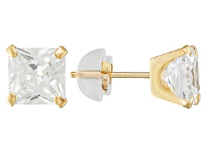 White Cubic Zirconia 10k Yellow Gold Earrings 4.20ctw