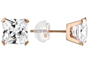 White Cubic Zirconia 10k Rose Gold Earrings 4.20ctw