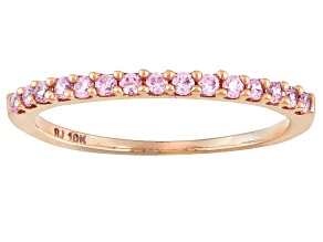 Pink Cubic Zirconia 10k Rose Gold Band .45ctw (.22ctw DEW)