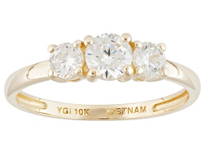 White Cubic Zirconia 10k Yellow Gold Ring 1.19ctw