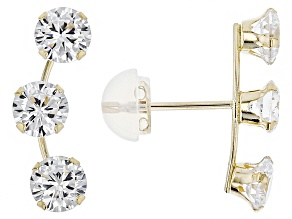 Cubic Zirconia 10k Yellow Gold Earrings 2.58ctw (1.50ctw DEW)
