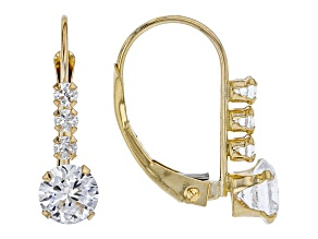 Cubic Zirconia 10k Yellow Gold Earrings 1.94ctw (1.10ctw DEW)
