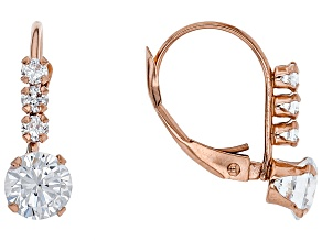 white cubic zirconia 10k rose gold earrings 1.94ctw