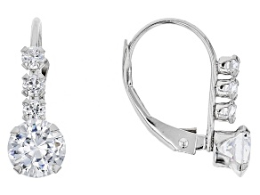 white cubic zirconia 10k white gold earrings 1.94ctw