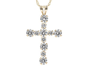 Cubic Zirconia 10k Yellow Gold Cross Pendant With Chain 1.38ctw (.81ctw DEW)