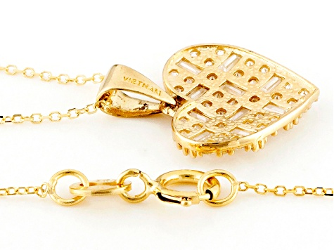 White Cubic Zirconia 10k Yellow Gold Heart Pendant With Chain 1.00ctw