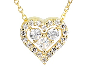 White Cubic Zirconia 10k Yellow Gold Heart Necklace .16ctw