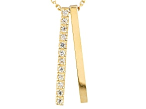 White Cubic Zirconia 10k Yellow Gold Pendant With Chain .11ctw
