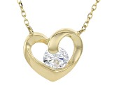 White Cubic Zirconia 10k Yellow Gold Heart Necklace .43ctw