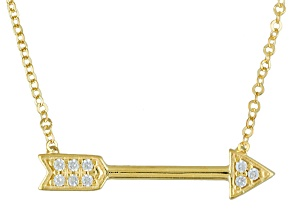 White Cubic Zirconia 10k Yellow Gold Necklace .034ctw