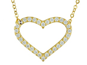White Cubic Zirconia 10k Yellow Gold Necklace .11ctw