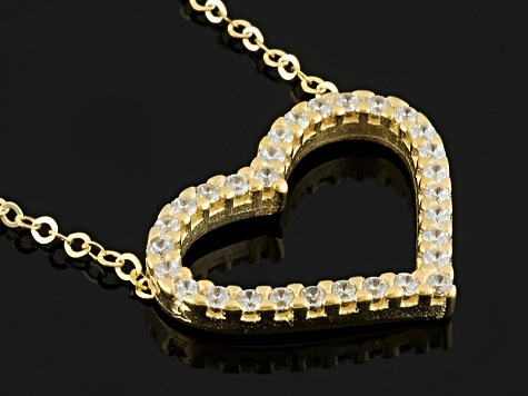 White Cubic Zirconia 10k Yellow Gold Heart Necklace .11ctw