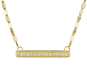 White Cubic Zirconia 10k Yellow Gold Necklace .05ctw