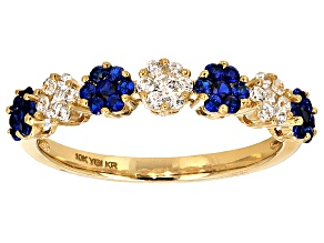 Blue Spinel And White Cubic Zirconia 10k Yg Ring .97ctw