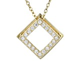 White Cubic Zirconia 10k Yellow Gold Pendant With Chain .20ctw