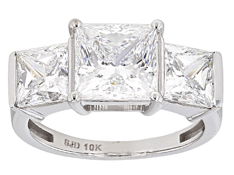 Cubic Zirconia 10k White Gold Ring 9.45ctw (5.49ctw DEW)