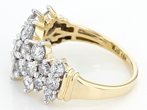 White Cubic Zirconia 10k Yellow Gold Ring 4.05ctw