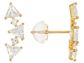 White Cubic Zirconia 10k Yellow Gold Earrings 1.89ctw
