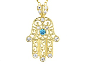 Blue And White Cubic Zirconia 10k Yg Pendant With Chain .24ctw