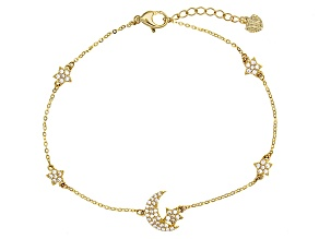 White Cubic Zirconia 10k Yellow Gold Bracelet .33ctw