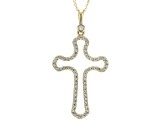 White Cubic Zirconia 10k YG Cross Pendant With Chain .63ctw