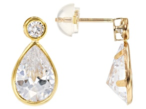 White Cubic Zirconia 10k Yellow Gold Earrings 6.45ctw