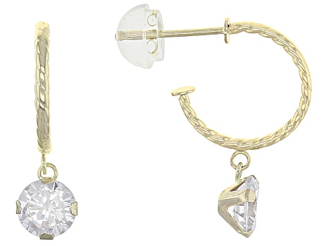 8f6a5938b White Cubic Zirconia 10k Yellow Gold Earrings 1.60ctw - BLG290 | JTV.com
