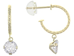 White Cubic Zirconia 10k Yellow Gold Earrings 1.60ctw