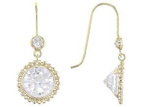 White Cubic Zirconia 10k Yellow Gold Earrings 7.26ctw