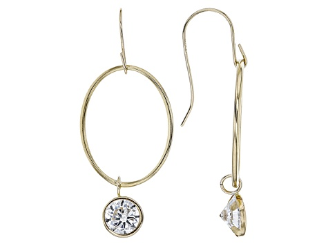 White Cubic Zirconia 10k Yellow Gold Earrings 2.86ctw