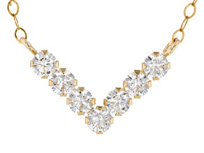 White Cubic Zirconia 10k Yellow Gold Necklace .70ctw