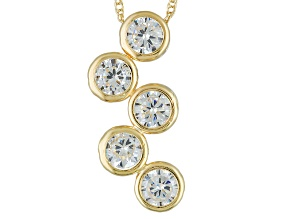 White Cubic Zirconia 10k Yellow Gold Pendant With Chain 2.15ctw