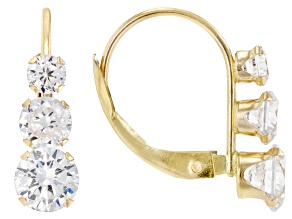 White Cubic Zirconia 10k Yellow Gold Earrings 2.80ctw