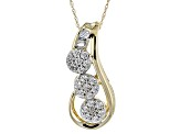 White Cubic Zirconia 10k Yellow Gold Pendant With Chain 1.02ctw