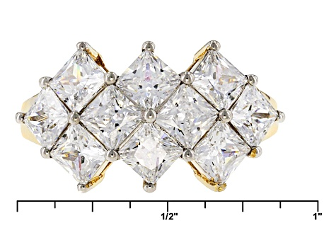 White Cubic Zirconia 10k Yellow Gold Ring 6.40ctw