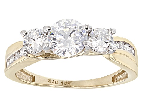 White Cubic Zirconia 10k Yellow Gold Ring 2.60ctw
