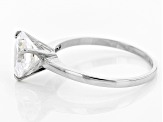 White Cubic Zirconia 10k White Gold Heart Ring 2.76ctw