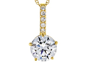 White Cubic Zirconia 10k Yellow Gold Pendant With Chain 1.72ctw