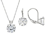White Cubic Zirconia 10k White Gold Earrings And Pendant With Chain 10.38ctw