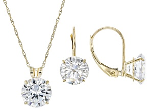 White Cubic Zirconia 10k Yellow Gold Earrings And Pendant With Chain 10.38ctw