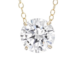 White Cubic Zirconia 10k Yellow Gold Necklace 3.45ctw