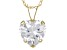 White Cubic Zirconia 10k Yellow Gold Pendant With Chain 2.90ctw