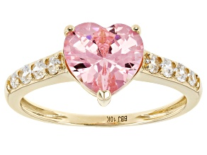 Pink And White Cubic Zirconia 10k Yellow Gold Ring 3.75ctw