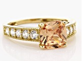 Brown And White Cubic Zirconia 10k Yellow Gold Ring 4.66ctw
