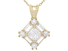 White Cubic Zirconia 10k Yg Pendant With Chain 1.73ctw