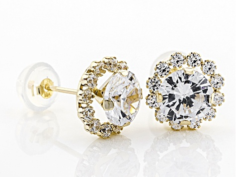 White Cubic Zirconia 10k Yellow Gold Earrings 3.40ctw