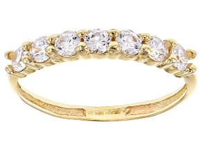 White Cubic Zirconia 10k Yellow Gold Ring, 0.70ctw