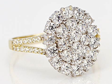 White Cubic Zirconia 10k Yellow Gold And White Gold Ring 2.24ctw
