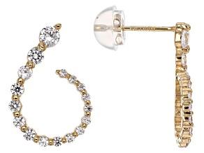 White Cubic Zirconia 10k Yg Earrings 0.52ctw